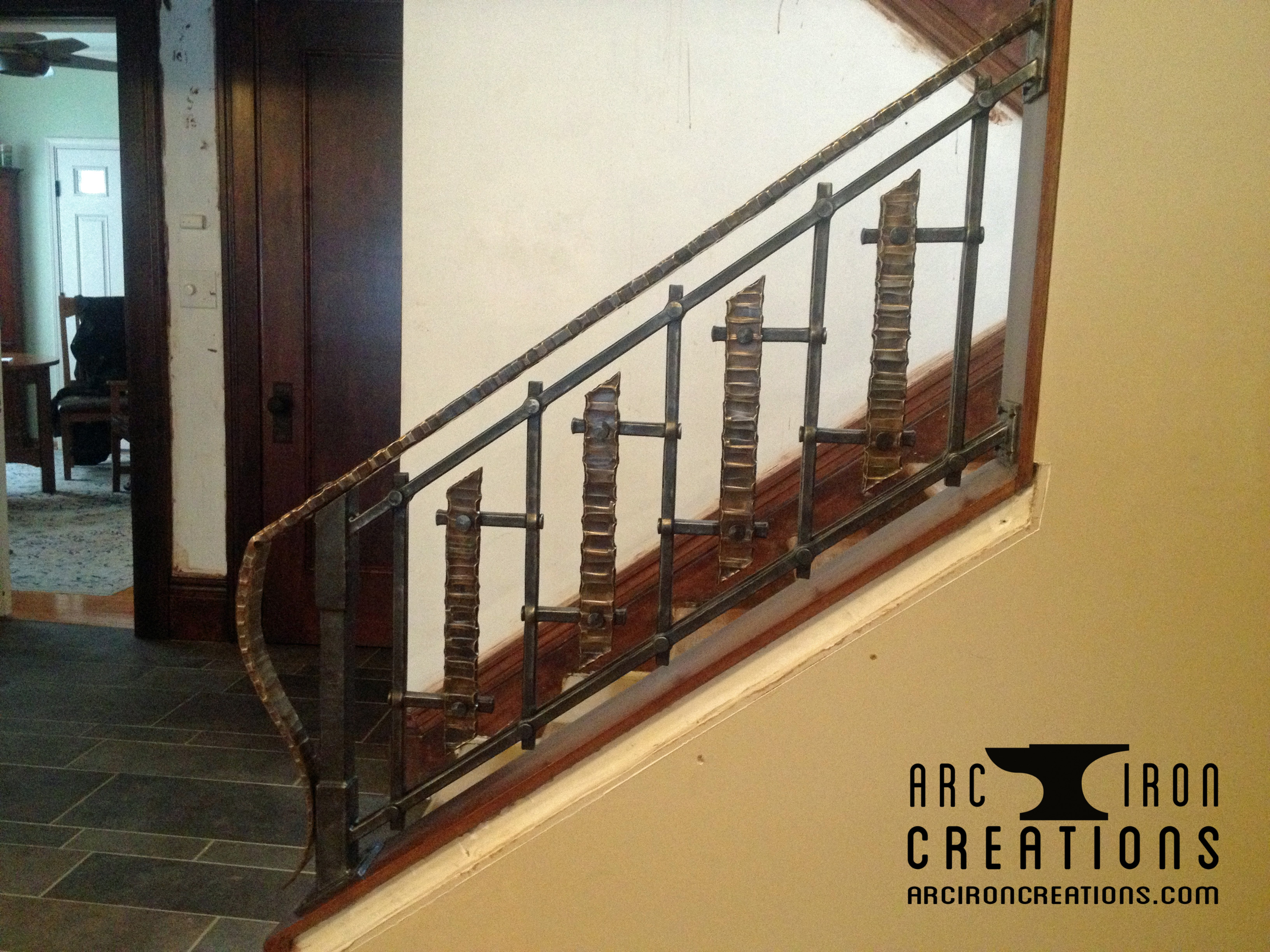 Railings arc iron creations for Craftsman picture rail