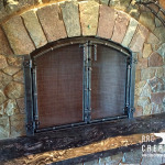 Fireplace with Kauri Mantle - Door Closeup